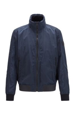 Slim-fit jacket in lightweight fabric with packable hood, Dark Blue
