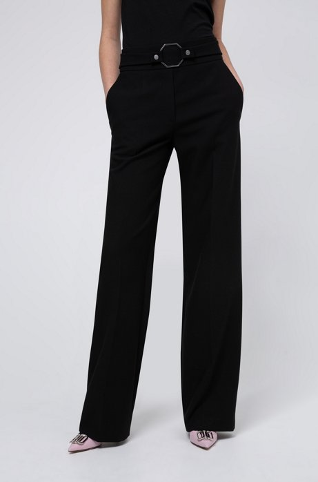 High-rise relaxed-fit pants with hardware-detailed waistline, Black