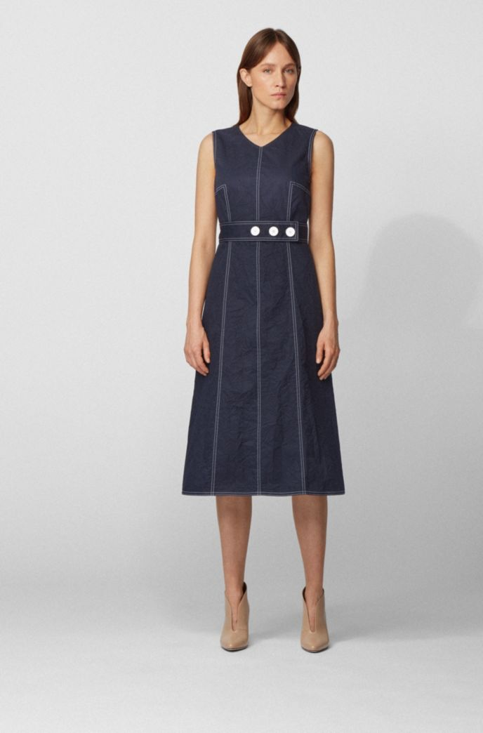 Midi-length dress in crinkle-effect cotton