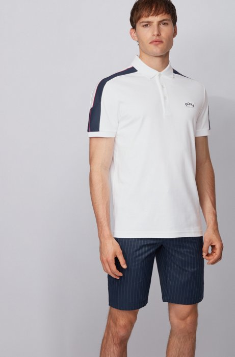 Slim-fit polo shirt in cotton with striped sleeves, White