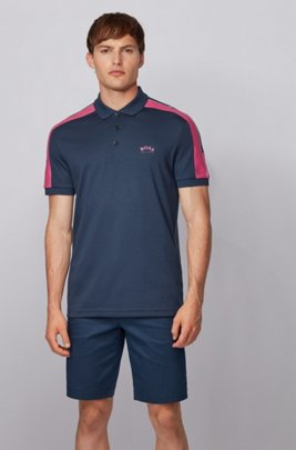 Slim-fit polo shirt in cotton with striped sleeves, Dark Blue