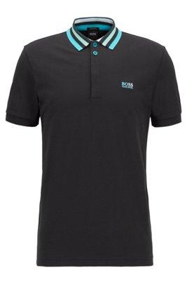 Cotton-piqué polo shirt with striped mesh collar, Black