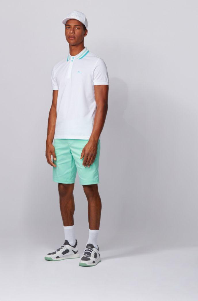 Cotton-piqué polo shirt with striped mesh collar