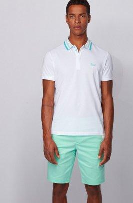 Cotton-piqué polo shirt with striped mesh collar, White