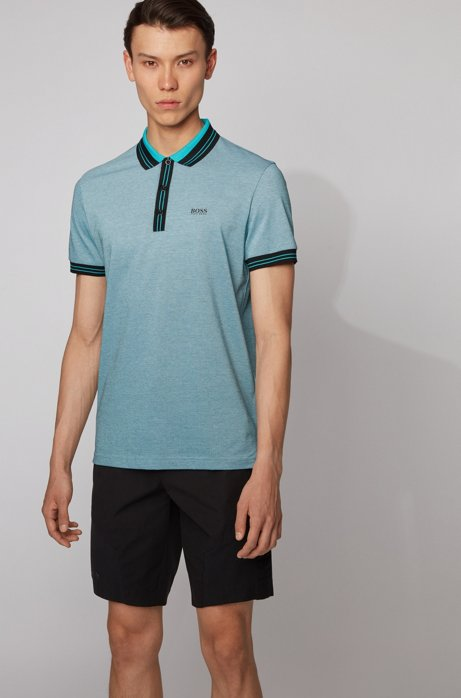 Cotton polo shirt with three-colored micro-piqué structure, Black