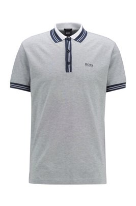 Cotton polo shirt with three-colored micro-piqué structure, Dark Blue