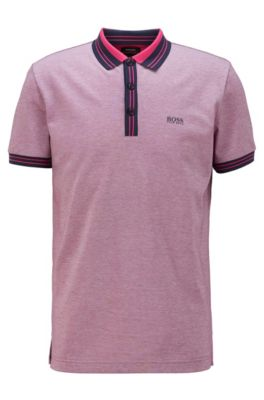 Cotton polo shirt with three-colored micro-piqué structure, Pink