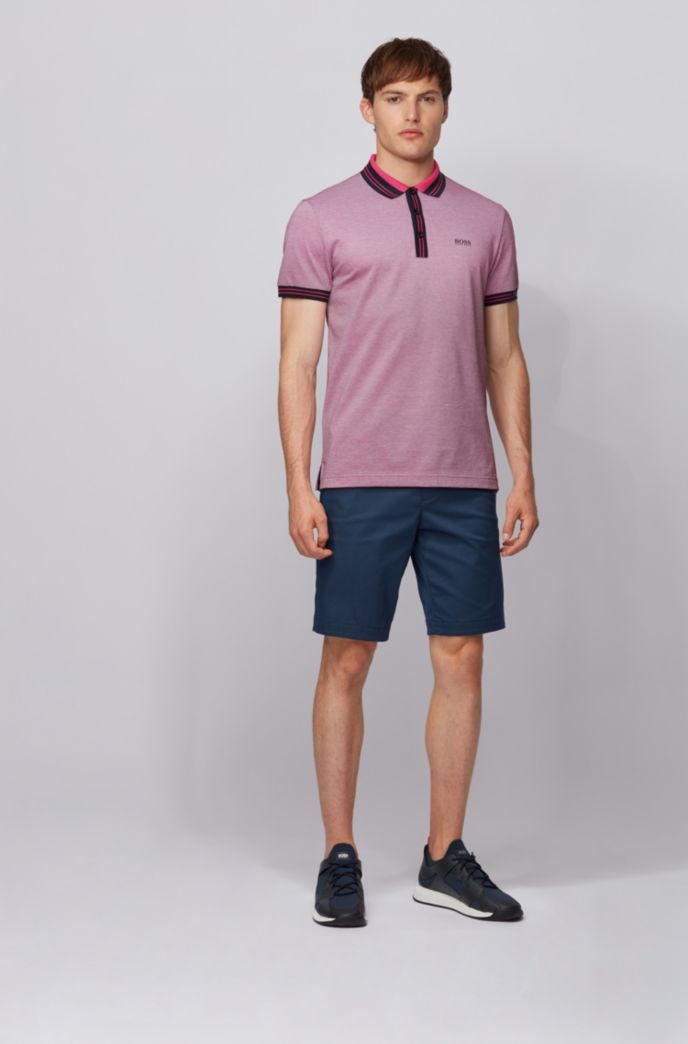 Cotton polo shirt with three-colored micro-piqué structure