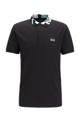 Slim-fit polo shirt with S.Café® and logo collar, Black