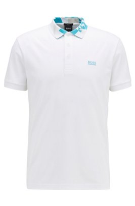 Slim-fit polo shirt with S.Café® and logo collar, White