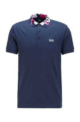 Slim-fit polo shirt with S.Café® and logo collar, Dark Blue