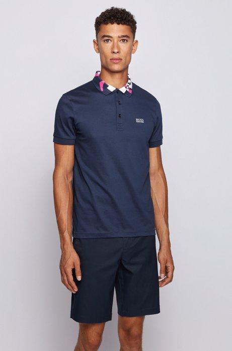 Slim-fit polo shirt with S.Café® and logo collar, Dark Blue