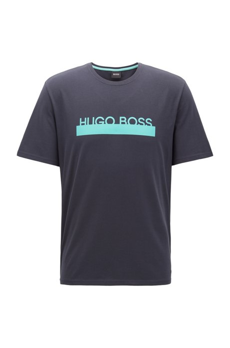 Pajama T-shirt in stretch cotton with heat-sealed logo, Open Blue