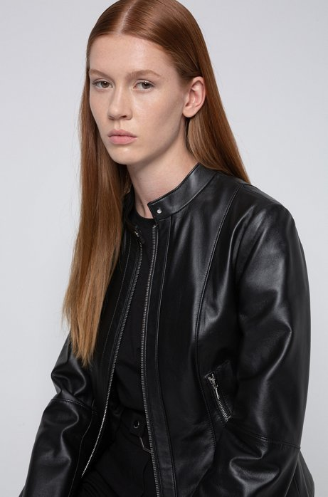 Regular-fit leather jacket with stand collar, Black