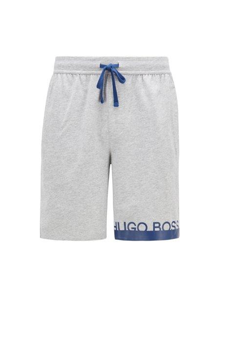 Melange jersey pajama shorts with heat-sealed logo, Light Grey