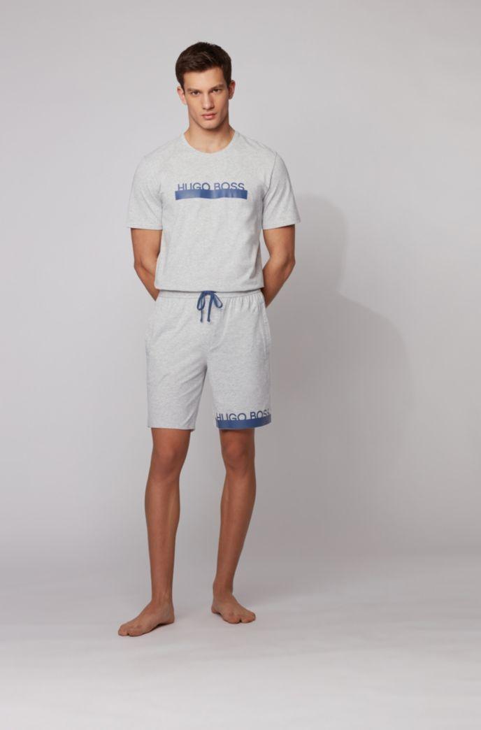 Melange jersey pajama shorts with heat-sealed logo