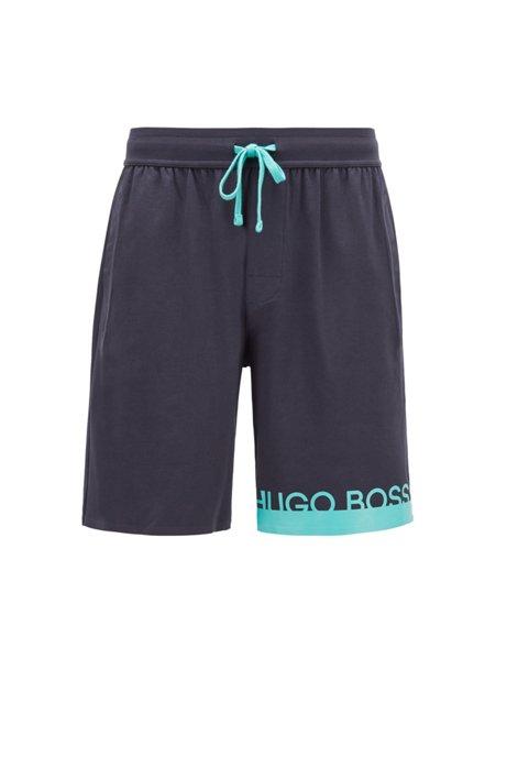Melange jersey pajama shorts with heat-sealed logo, Open Blue