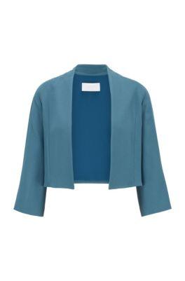Collarless regular-fit jacket in satin-back crepe, Dark Blue