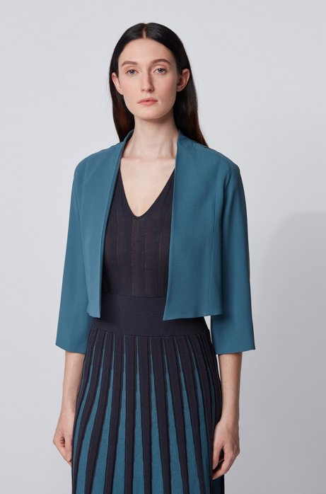 Collarless regular-fit jacket in satin-back crepe, Dark Blue