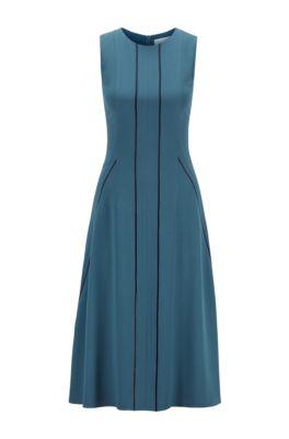 Sleeveless dress in satin-back crepe with lustrous stripes, Dark Blue