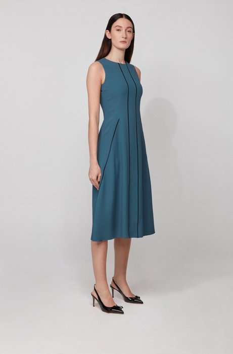 Sleeveless dress in satin-back crepe with lustrous stripes, Dark Blue