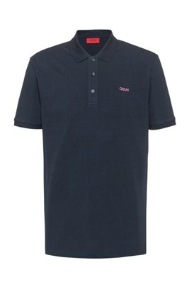 Polo shirt in cotton piqué with reverse-logo embroidery, Dark Blue