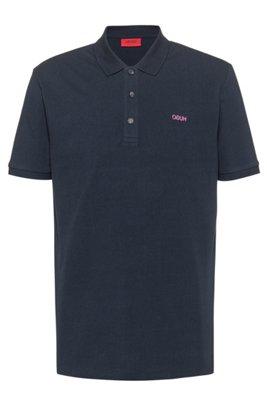 Polo shirt in cotton piqué with reverse-logo embroidery, Dark Blue