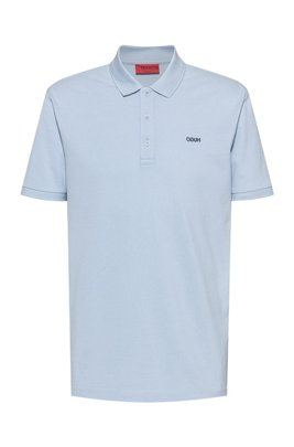Polo shirt in cotton piqué with reverse-logo embroidery, Light Blue