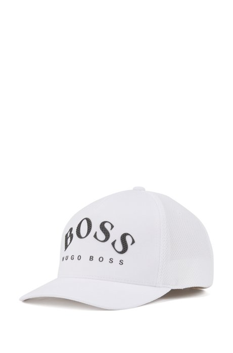 Jersey cap with mesh-effect curved logo, White