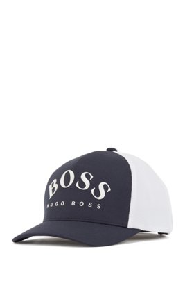 Jersey cap with mesh-effect curved logo, Dark Blue