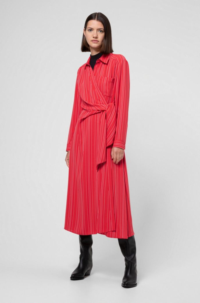 Striped shirt dress with wrap-effect front