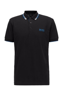 Active-stretch golf polo shirt with S.Café®, Black