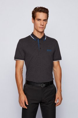 Active-stretch golf polo shirt with S.Café®, Dark Grey