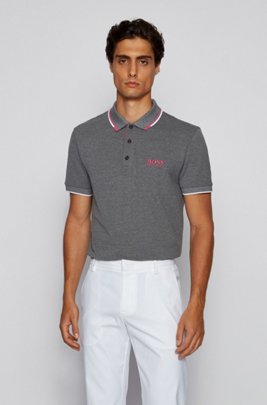 Active-stretch golf polo shirt with S.Café®, Open Grey