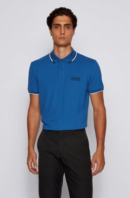 Active-stretch golf polo shirt with S.Café®, Light Blue