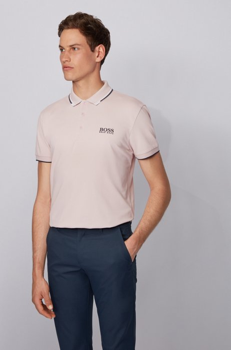 Active-stretch golf polo shirt with S.Café®, light pink