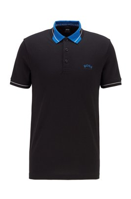 Logo-collar slim-fit polo shirt in S.Café® fabric, Black
