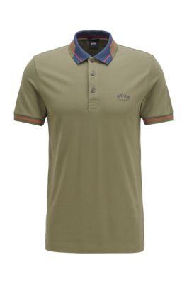 Logo-collar slim-fit polo shirt in S.Café® fabric, Dark Green
