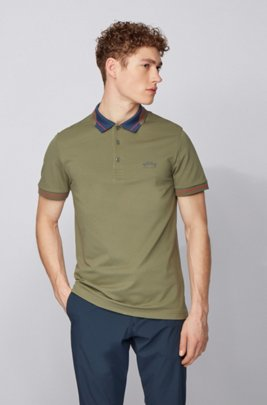 Logo-collar slim-fit polo shirt in S.Café® fabric, Dark Green