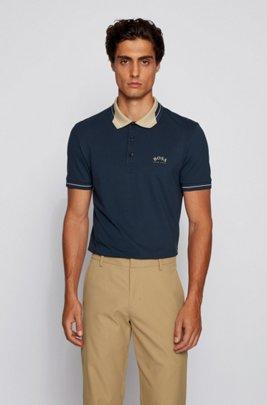 Logo-collar slim-fit polo shirt in S.Café® fabric, Dark Blue