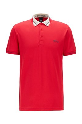 Logo-collar slim-fit polo shirt in S.Café® fabric, Red