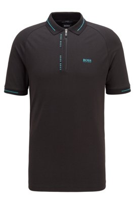 Slim-fit polo shirt with S.Café® and pinstripe panels, Black