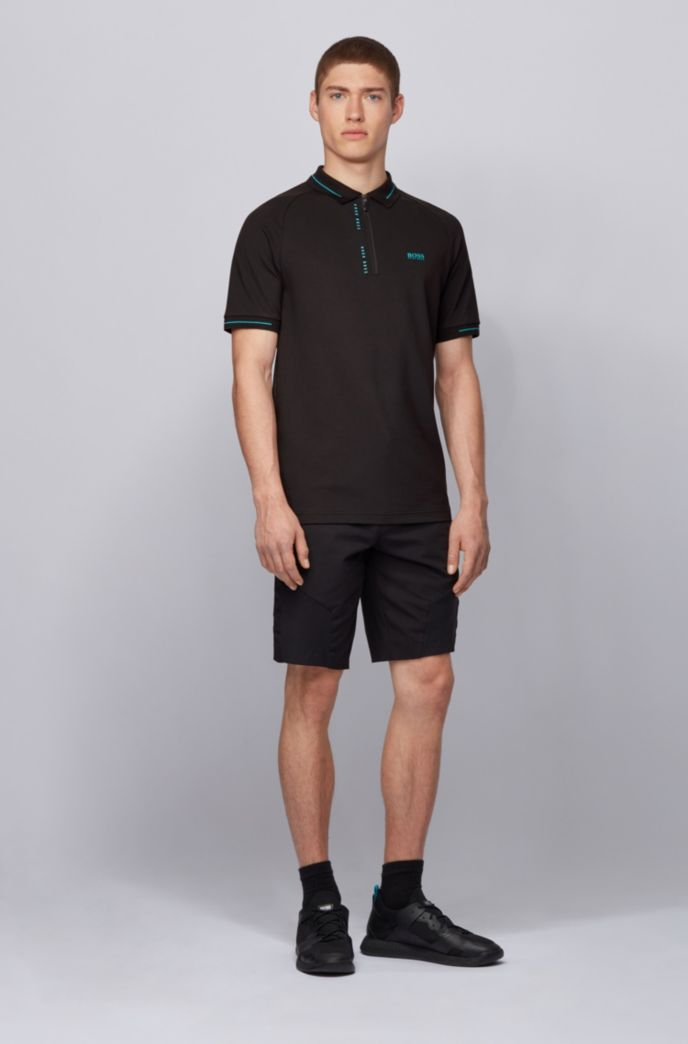 Slim-fit polo shirt with S.Café® and pinstripe panels