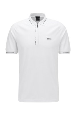 Slim-fit polo shirt with S.Café® and pinstripe panels, White