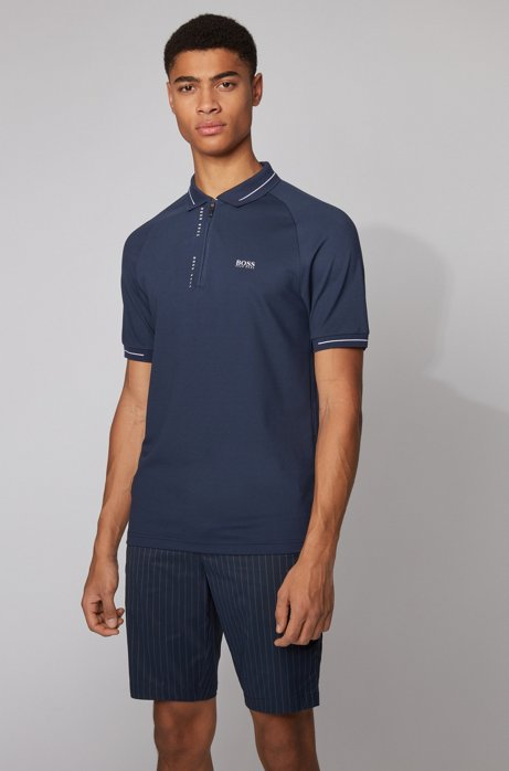 Slim-fit polo shirt with S.Café® and pinstripe panels, Dark Blue