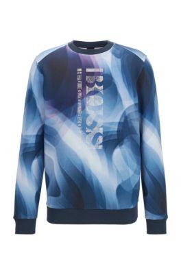 Slim-fit sweatshirt with all-over digital print, Dark Blue