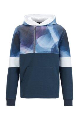 Abstract-print hoodie with asymmetric quarter zipper, Dark Blue