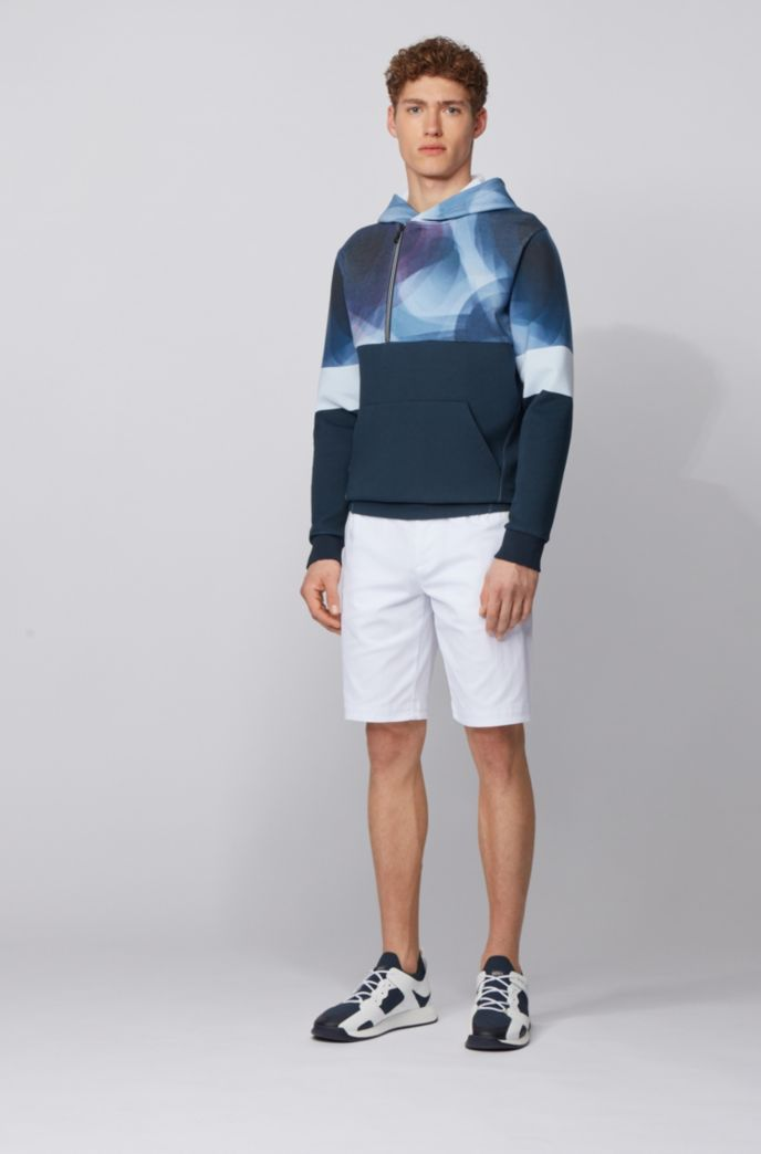 Abstract-print hoodie with asymmetric quarter zipper