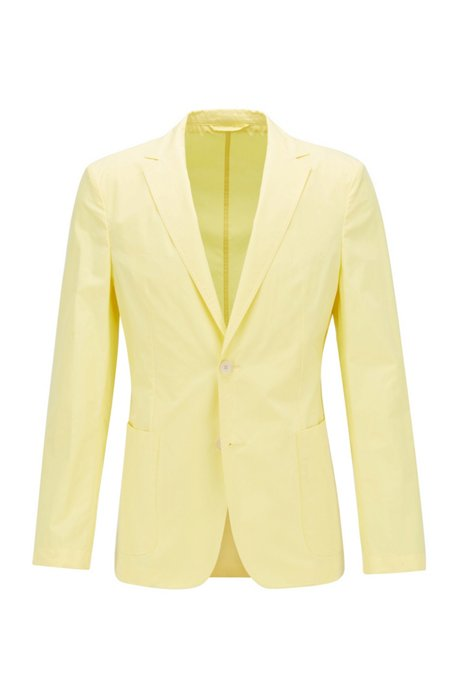 Slim-fit jacket in pure cotton with patch pockets, Yellow