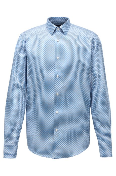 Regular-fit shirt in leopard-print cotton satin, Blue